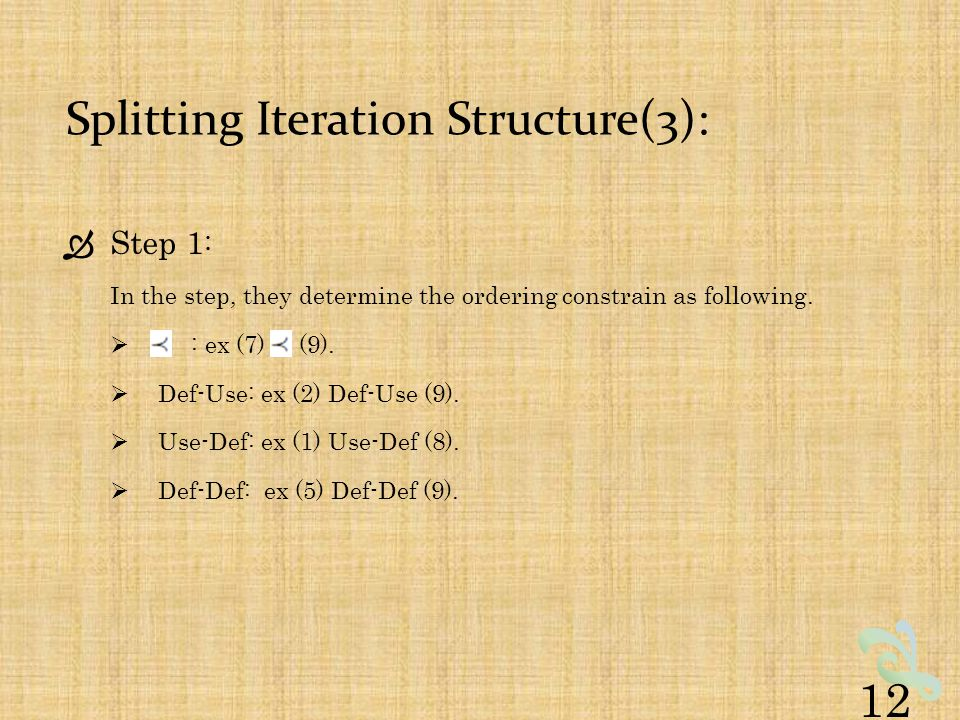 Splitting Iteration Structure(3):  Step 1 : In the step, they determine the ordering constrain as following.