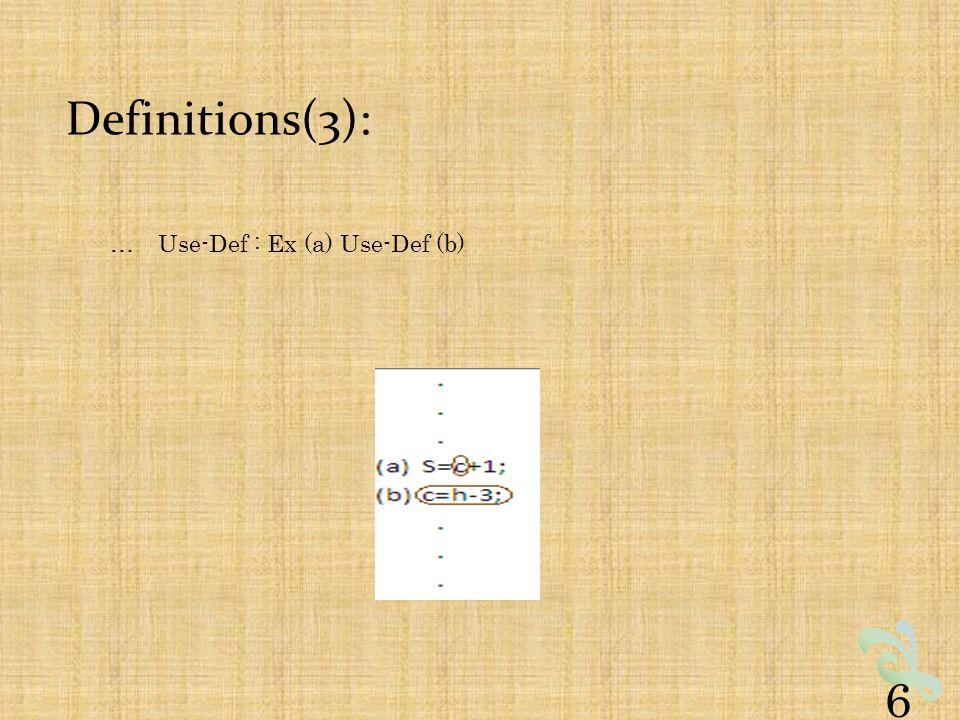 Definitions(3): …Use-Def : Ex (a) Use-Def (b) 6