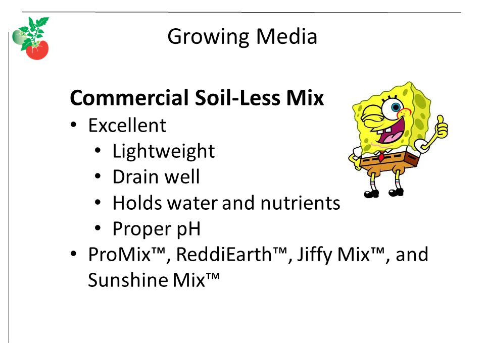 Growing Media Commercial Soil-Less Mix Excellent Lightweight Drain well Holds water and nutrients Proper pH ProMix™, ReddiEarth™, Jiffy Mix™, and Sunshine Mix™