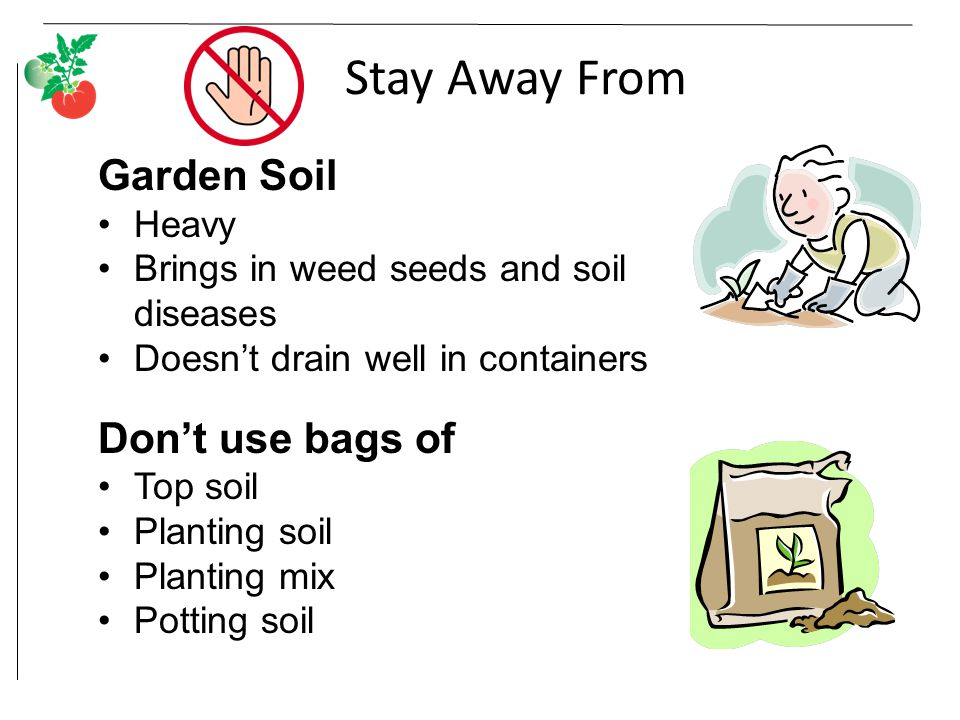 Stay Away From Garden Soil Heavy Brings in weed seeds and soil diseases Doesn't drain well in containers Don't use bags of Top soil Planting soil Planting mix Potting soil