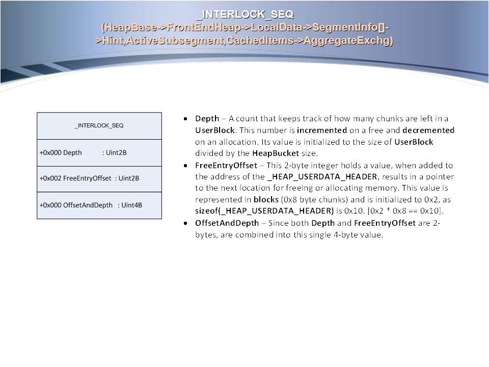_INTERLOCK_SEQ (HeapBase->FrontEndHeap->LocalData->SegmentInfo[]- >Hint,ActiveSubsegment,CachedItems->AggregateExchg)