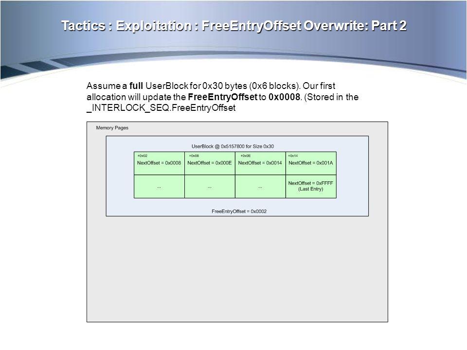 Tactics : Exploitation : FreeEntryOffset Overwrite: Part 2 Assume a full UserBlock for 0x30 bytes (0x6 blocks).