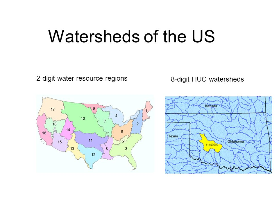 Watersheds of the US 2-digit water resource regions 8-digit HUC watersheds