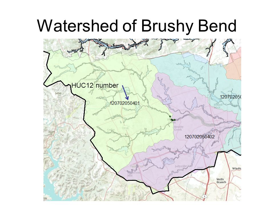 Watershed of Brushy Bend HUC12 number