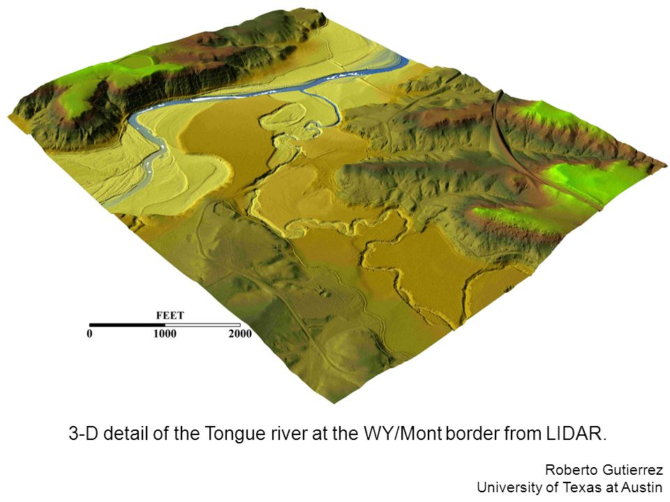 3-D detail of the Tongue river at the WY/Mont border from LIDAR.