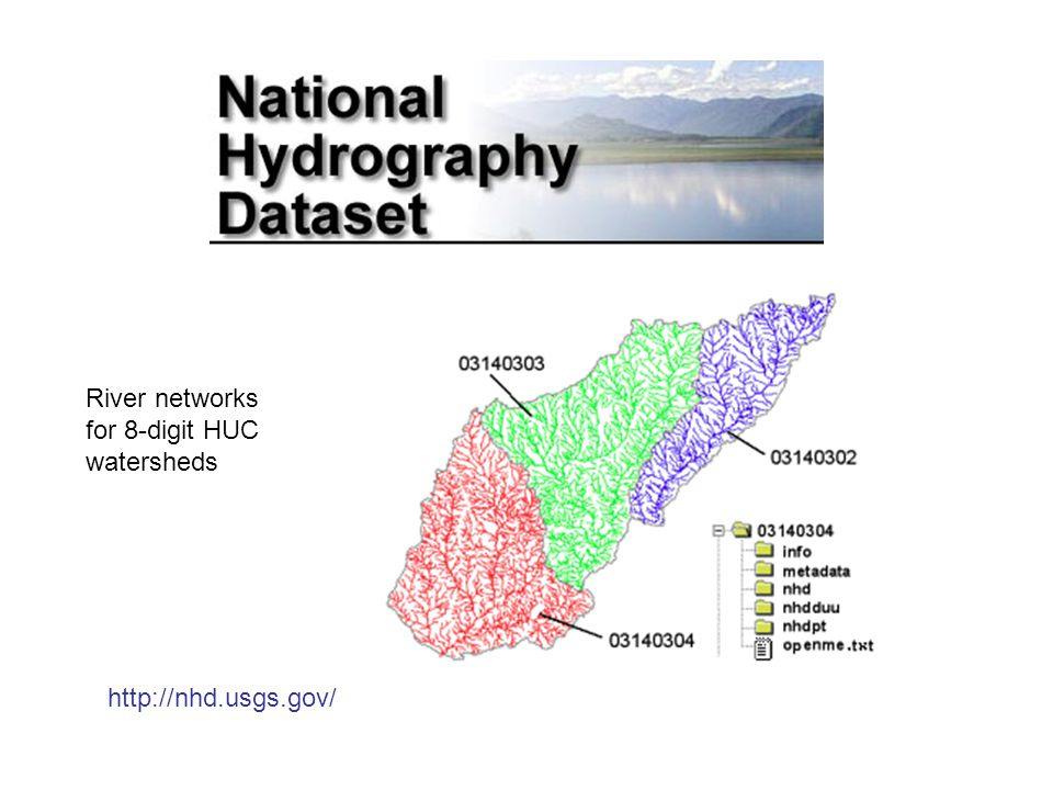 River networks for 8-digit HUC watersheds http://nhd.usgs.gov/