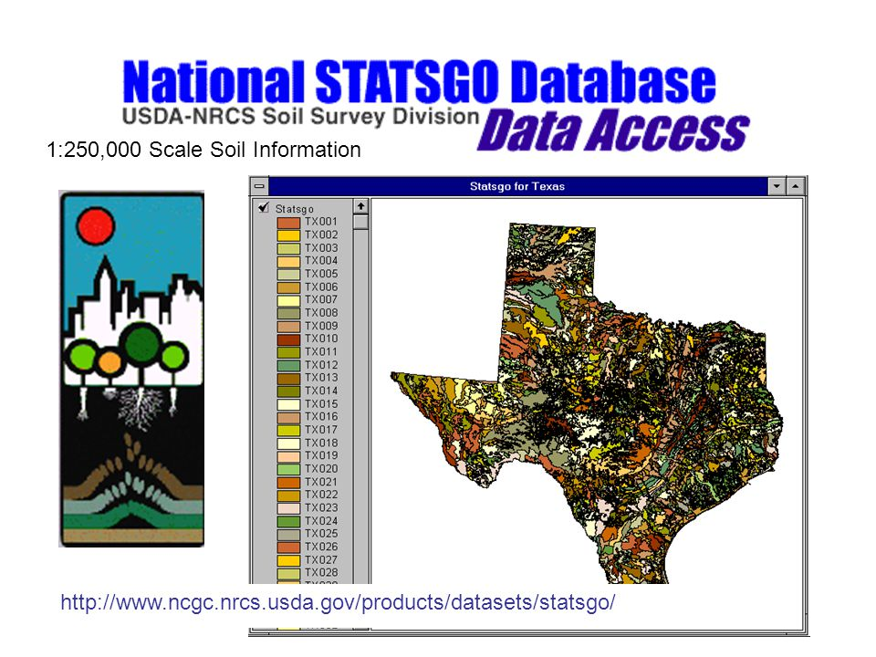 http://www.ncgc.nrcs.usda.gov/products/datasets/statsgo/ 1:250,000 Scale Soil Information