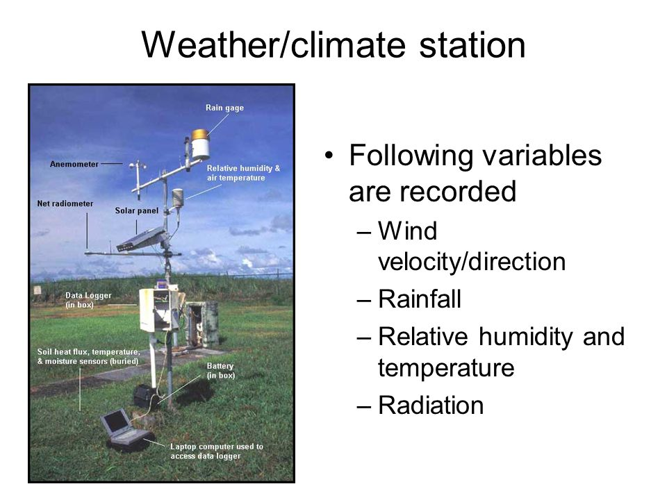 Components of a weather station Anemometer Radiometer Tipping bucket raingage Relative humidity and temperature