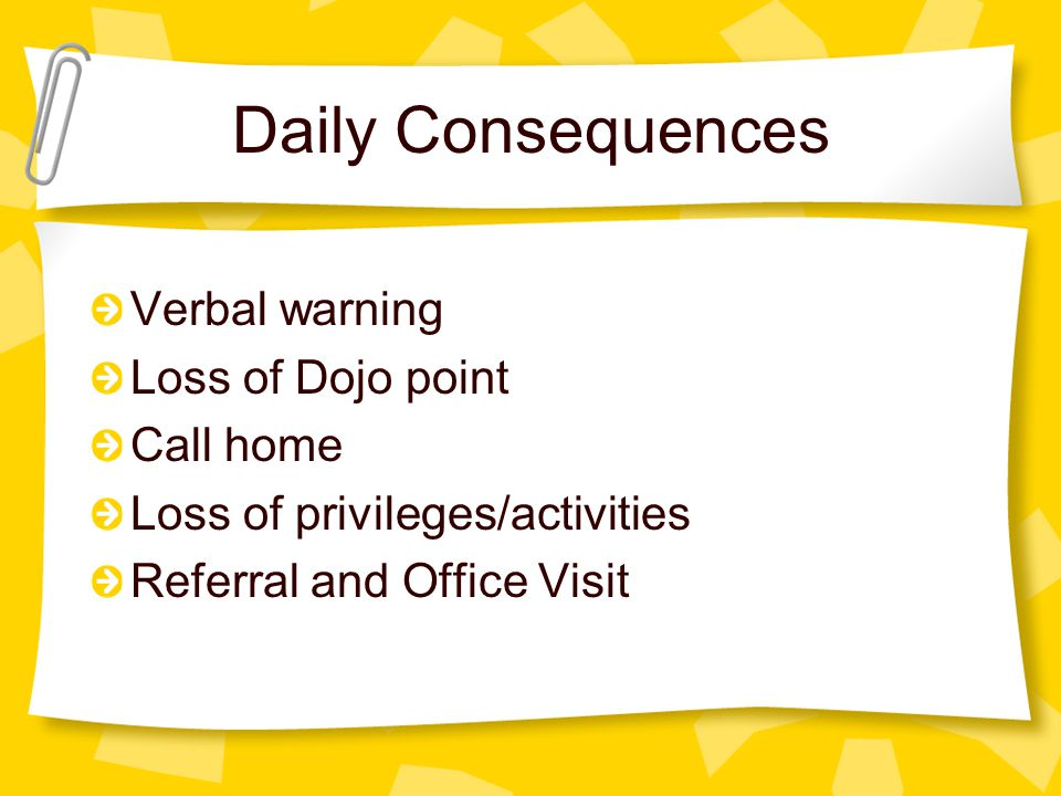 Daily Consequences Verbal warning Loss of Dojo point Call home Loss of privileges/activities Referral and Office Visit
