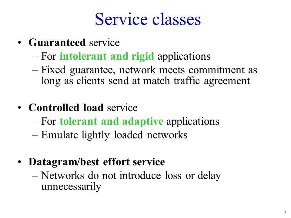 5 Service classes Guaranteed service –For intolerant and rigid applications –Fixed guarantee, network meets commitment as long as clients send at matc