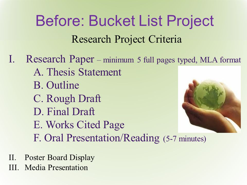 Before: Bucket List Project Research Project Criteria I.