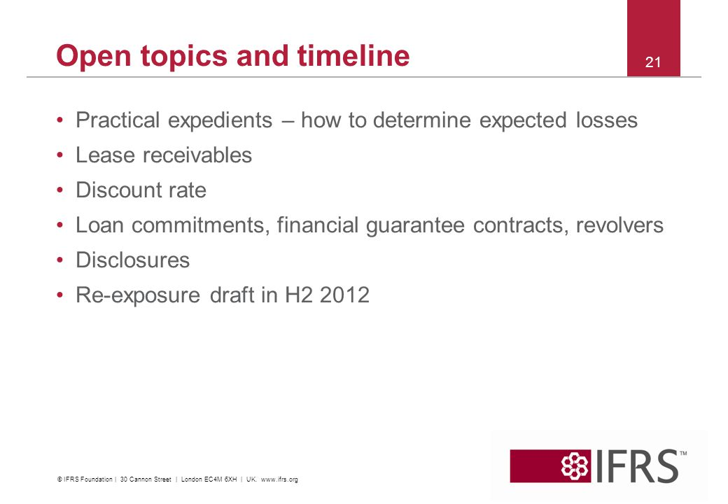 Open topics and timeline Practical expedients – how to determine expected losses Lease receivables Discount rate Loan commitments, financial guarantee