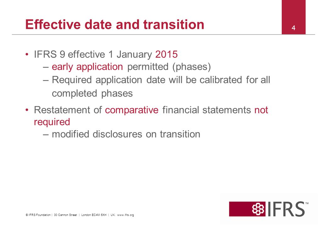 Effective date and transition IFRS 9 effective 1 January 2015 –early application permitted (phases) –Required application date will be calibrated for