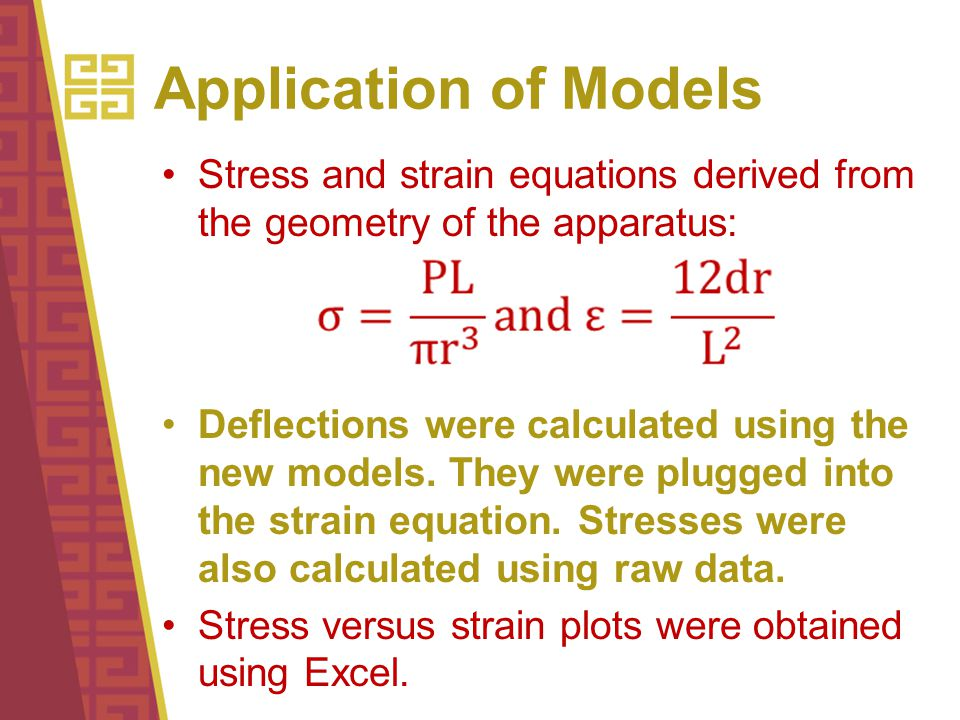 Application of Models Stress and strain equations derived from the geometry of the apparatus: Deflections were calculated using the new models.