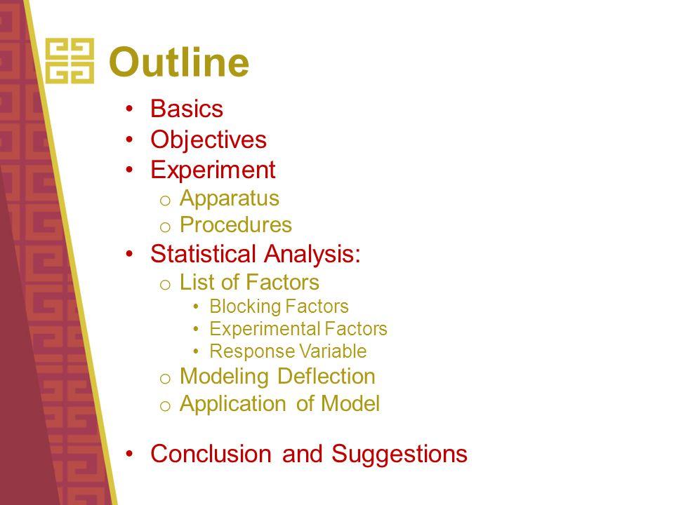 Outline Basics Objectives Experiment o Apparatus o Procedures Statistical Analysis: o List of Factors Blocking Factors Experimental Factors Response V