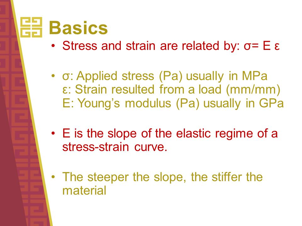 Basics Stress and strain are related by: σ= E ε σ: Applied stress (Pa) usually in MPa ε: Strain resulted from a load (mm/mm) E: Young's modulus (Pa) usually in GPa E is the slope of the elastic regime of a stress-strain curve.