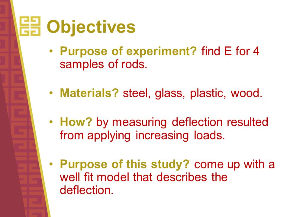 Objectives Purpose of experiment. find E for 4 samples of rods.