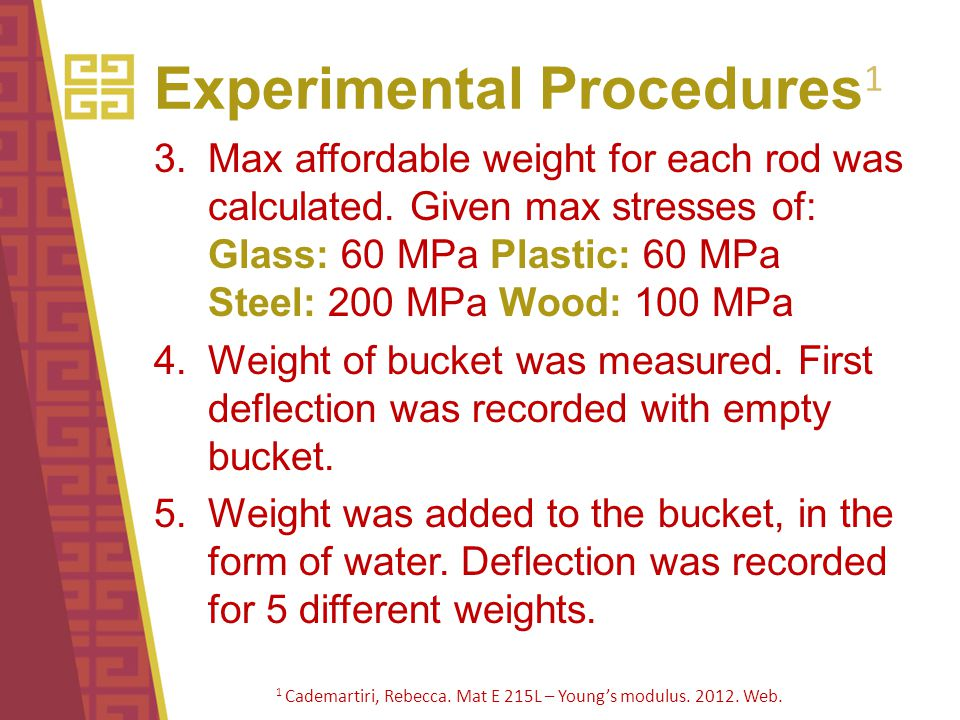 Experimental Procedures 1 3.Max affordable weight for each rod was calculated. Given max stresses of: Glass: 60 MPa Plastic: 60 MPa Steel: 200 MPa Woo
