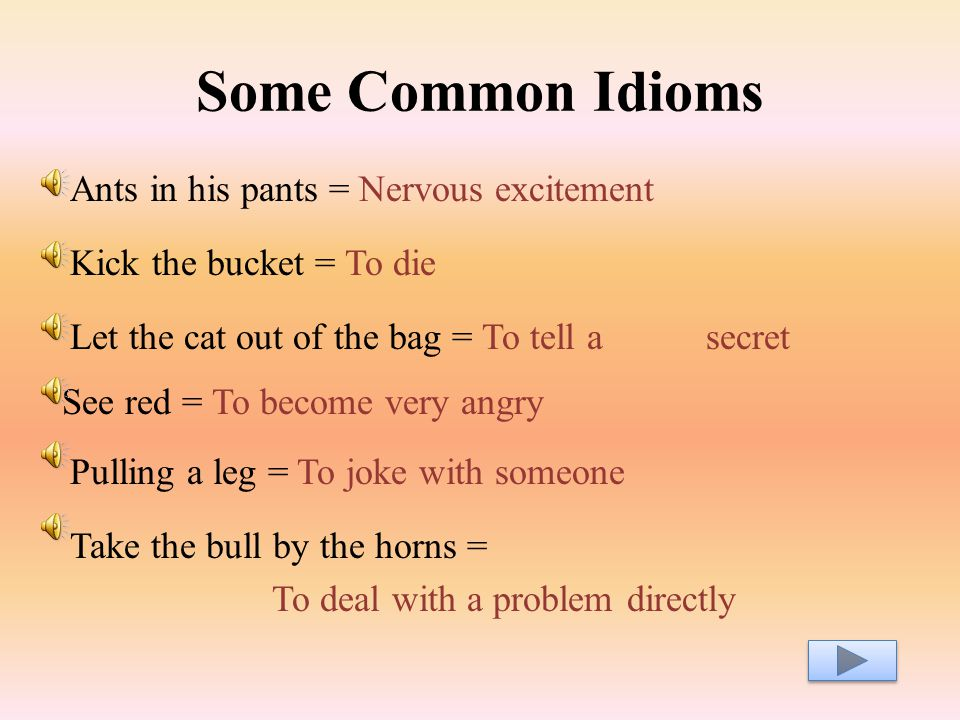 Some Common Idioms Ants in his pants = Nervous excitement Kick the bucket = To die Let the cat out of the bag = To tell a secret See red = To become very angry Pulling a leg = To joke with someone Take the bull by the horns = To deal with a problem directly