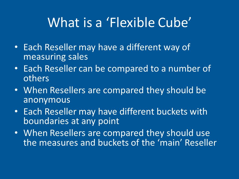 We need to define each method of calculation a measure that any reseller uses This is done through a number of views which are combined into a single view using a UNION statement.