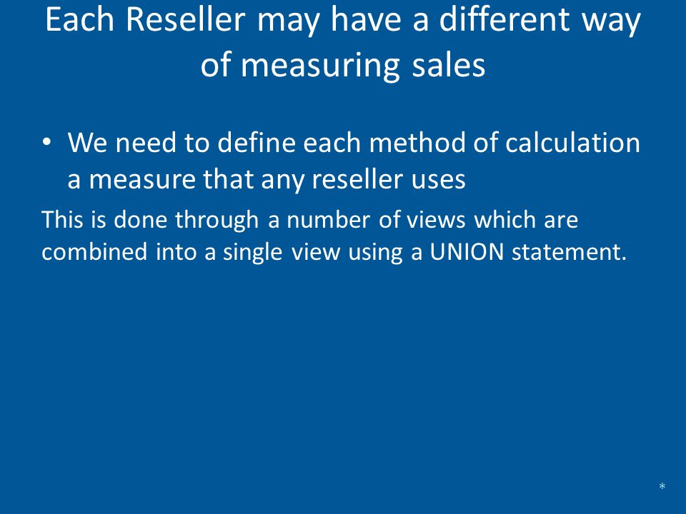 We need to create a table to hold which measure method each reseller uses This will hold… The reseller key to join back to the Dim Reseller table The measure group A key for the measure calculation method The measure group name and the measure description to assist maintenance through self documentation Each Reseller may have a different way of measuring sales *