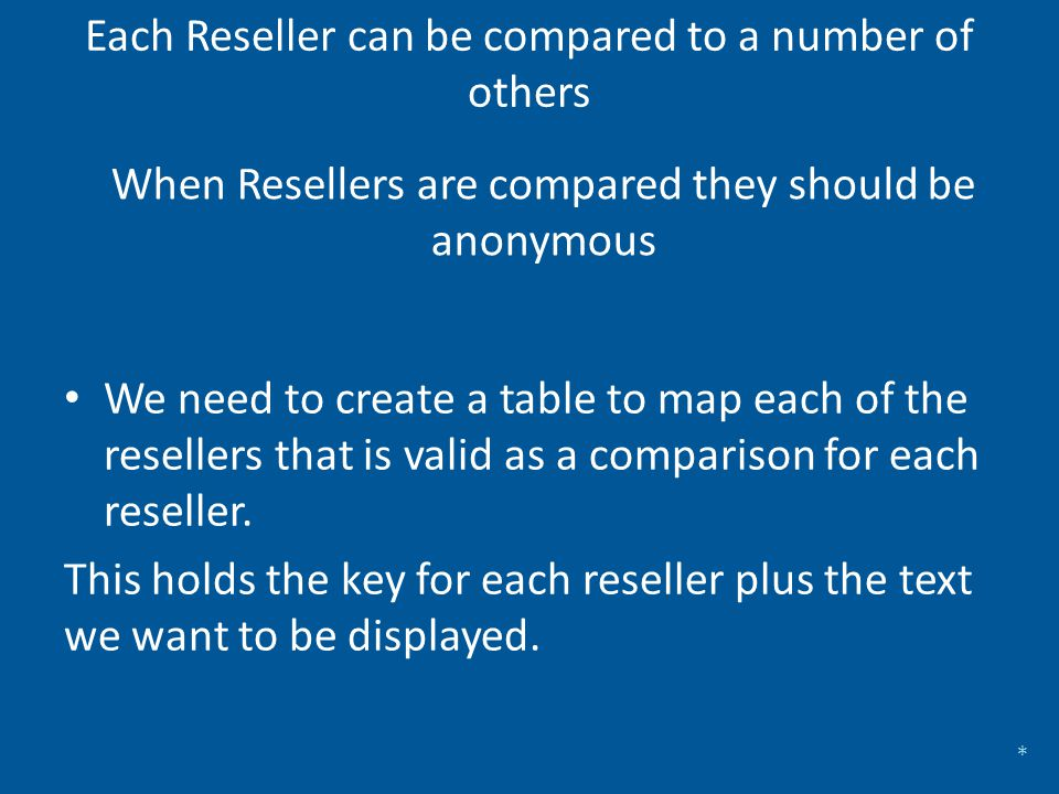 Each Reseller can be compared to a number of others We need to create a table to map each of the resellers that is valid as a comparison for each rese