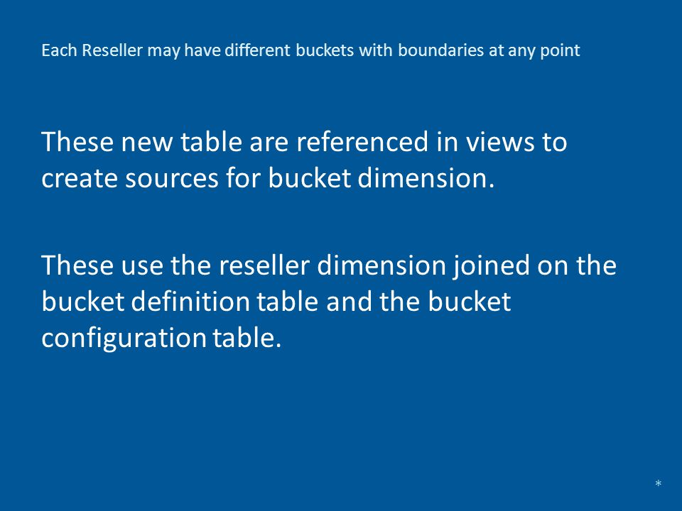 Each Reseller may have different buckets with boundaries at any point These new table are referenced in views to create sources for bucket dimension.
