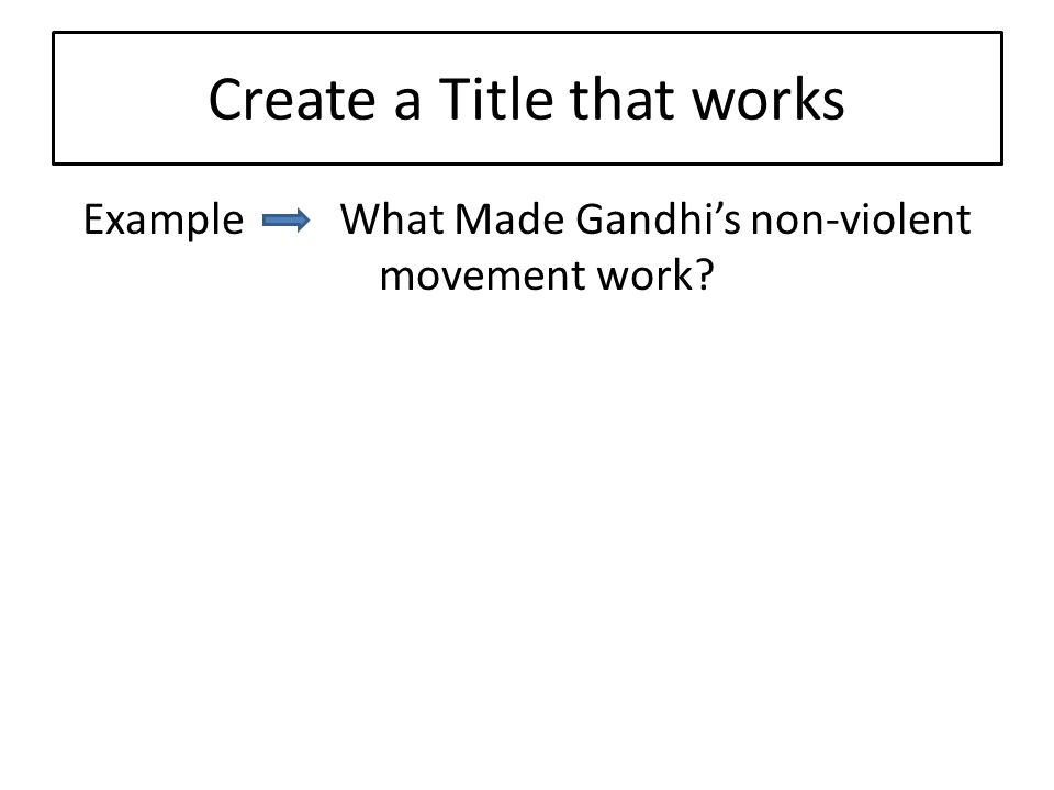 Create a Title that works Example What Made Gandhi's non-violent movement work?