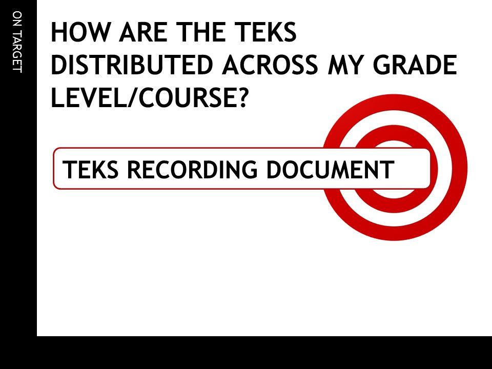 ON TARGET HOW ARE THE TEKS DISTRIBUTED ACROSS MY GRADE LEVEL/COURSE? TEKS RECORDING DOCUMENT