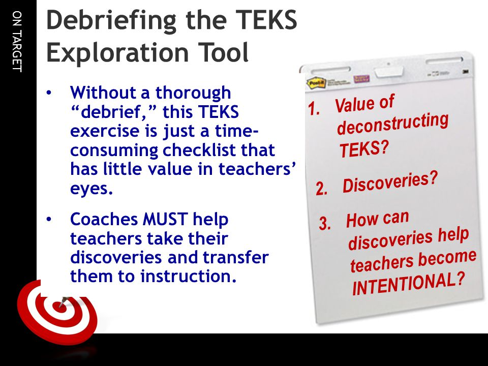 ON TARGET Debriefing the TEKS Exploration Tool 1.Value of deconstructing TEKS.