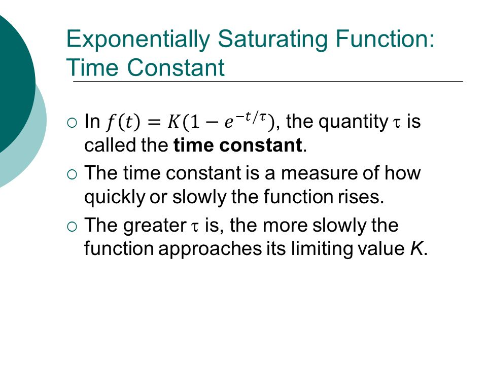Exponentially Saturating Function: Time Constant