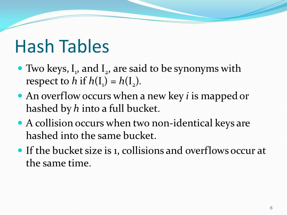 Hash Tables Two keys, I 1, and I 2, are said to be synonyms with respect to h if h(I 1 ) = h(I 2 ). An overflow occurs when a new key i is mapped or h