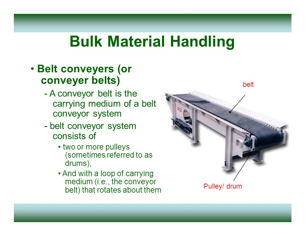 Bulk Material Handling Belt conveyers - One or both of the pulleys are powered, moving the belt and the material on the belt forward.