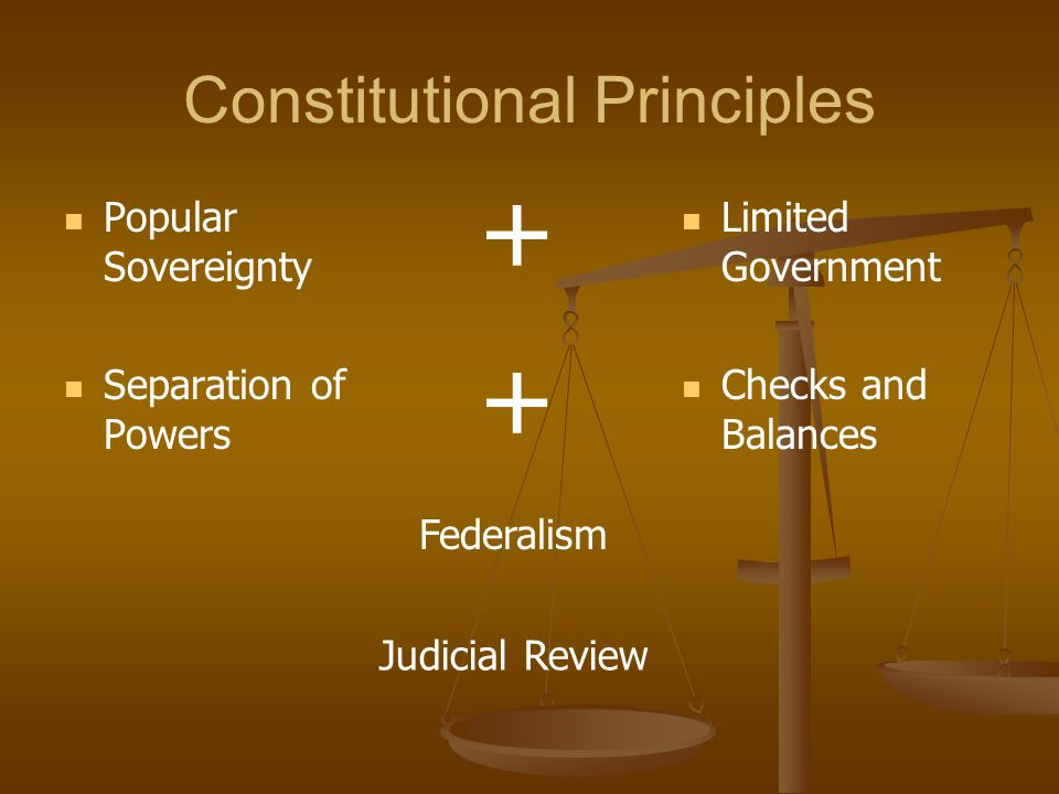 Constitutional Principles Popular Sovereignty Separation of Powers Limited Government Checks and Balances Federalism + + Judicial Review