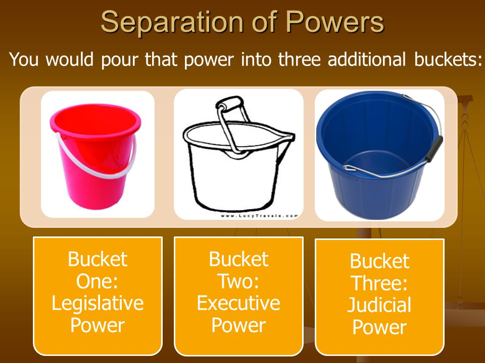 Separation of Powers Bucket One: Legislative Power Bucket Two: Executive Power Bucket Three: Judicial Power You would pour that power into three addit