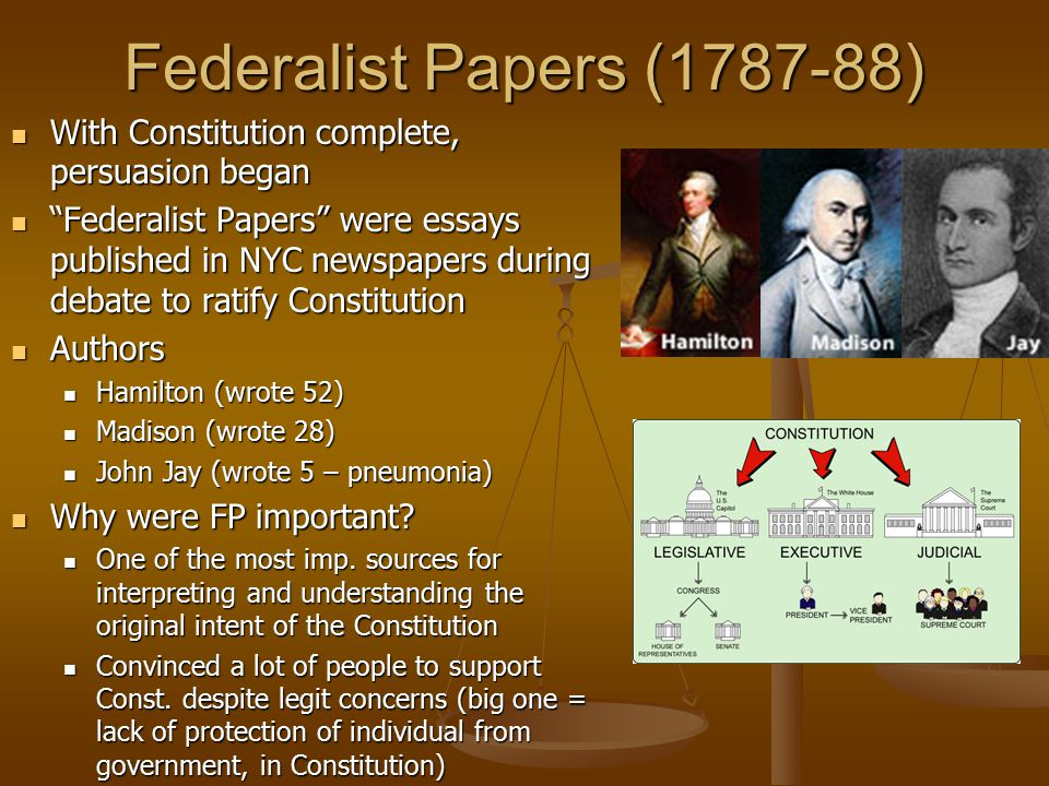 """Federalist Papers (1787-88) With Constitution complete, persuasion began """"Federalist Papers"""" were essays published in NYC newspapers during debate to"""