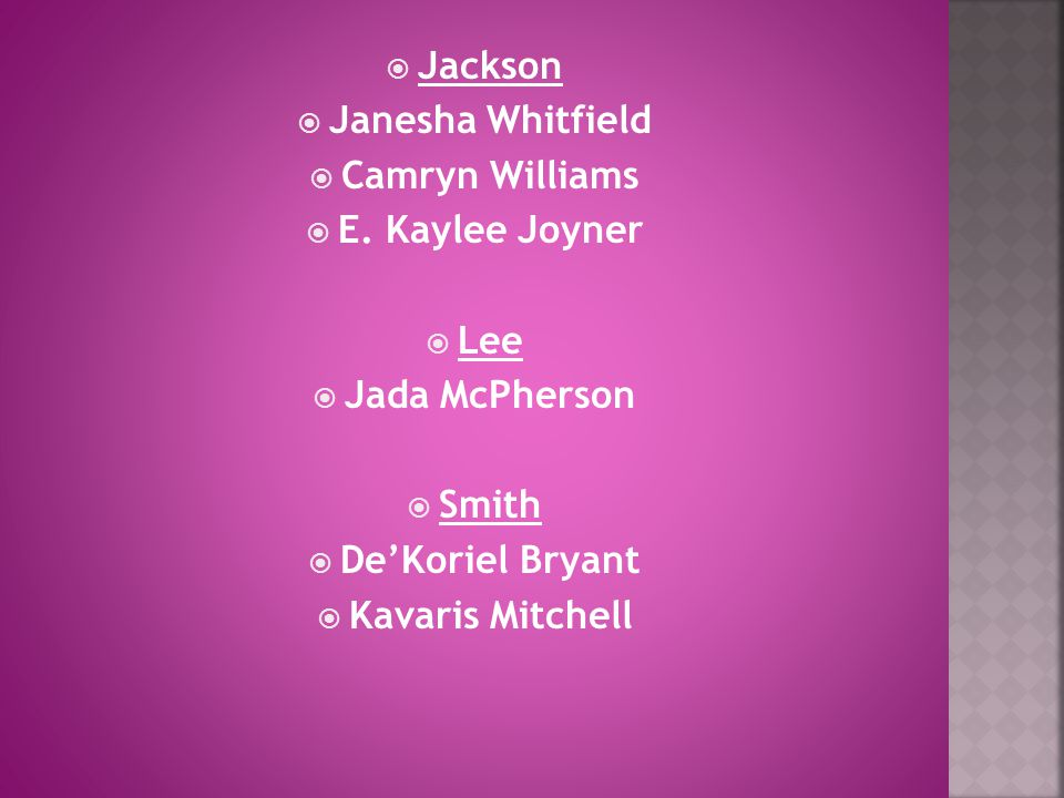  Jackson  Janesha Whitfield  Camryn Williams  E. Kaylee Joyner  Lee  Jada McPherson  Smith  De'Koriel Bryant  Kavaris Mitchell