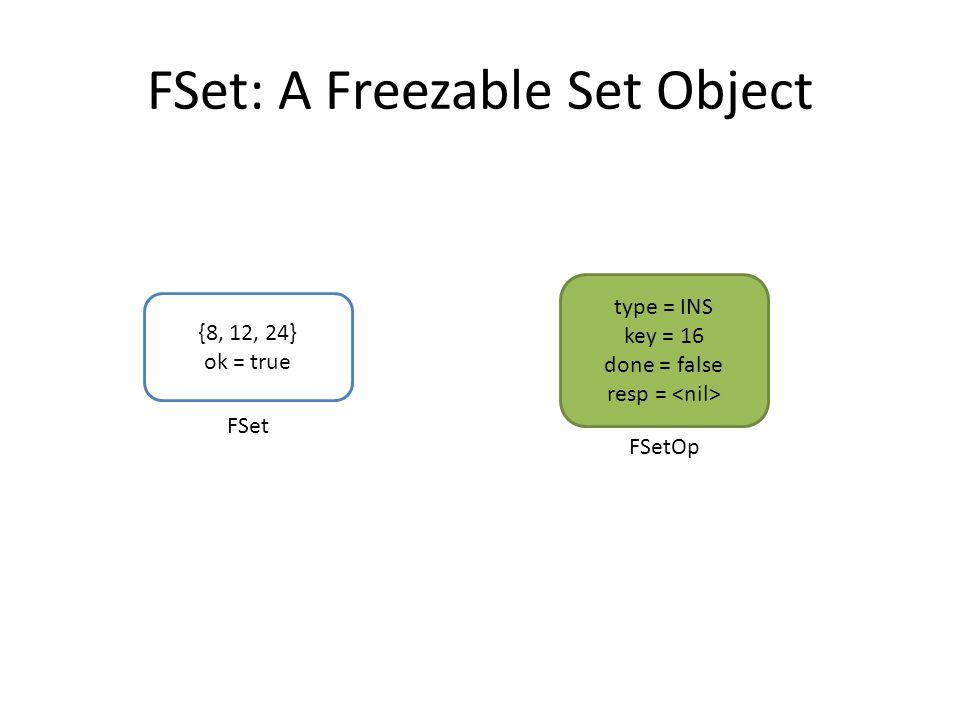 FSet: A Freezable Set Object {8, 12, 24} ok = true type = INS key = 16 done = false resp = FSet FSetOp