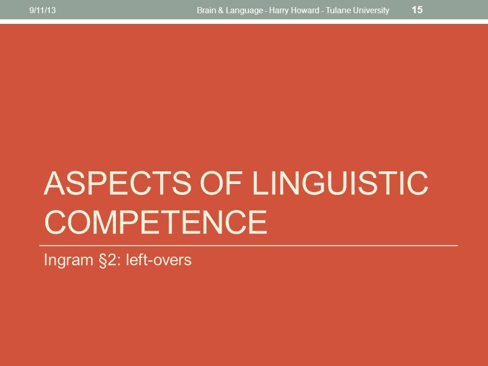 ASPECTS OF LINGUISTIC COMPETENCE Ingram §2: left-overs 9/11/13Brain & Language - Harry Howard - Tulane University 15