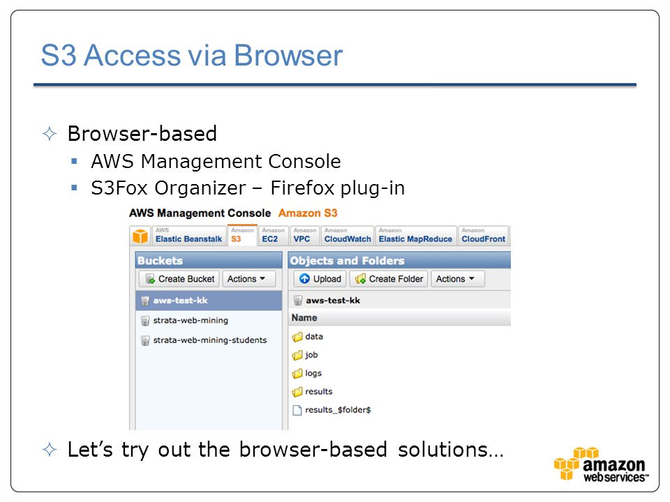 S3 Access via Browser  Browser-based  AWS Management Console  S3Fox Organizer – Firefox plug-in  Let's try out the browser-based solutions…