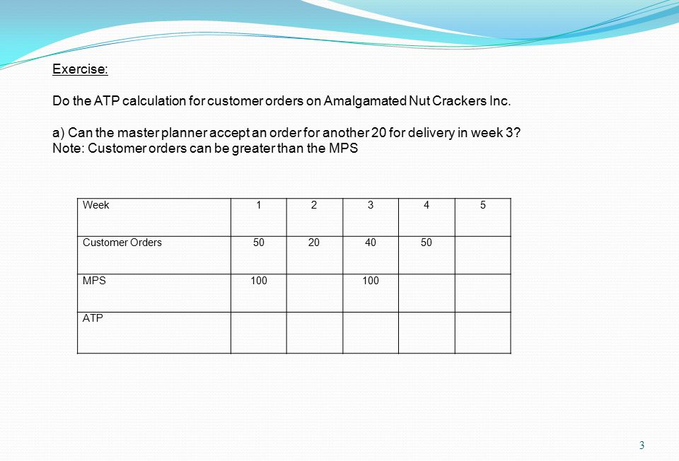 3 Week12345 Customer Orders50204050 MPS100 ATP Exercise: Do the ATP calculation for customer orders on Amalgamated Nut Crackers Inc.