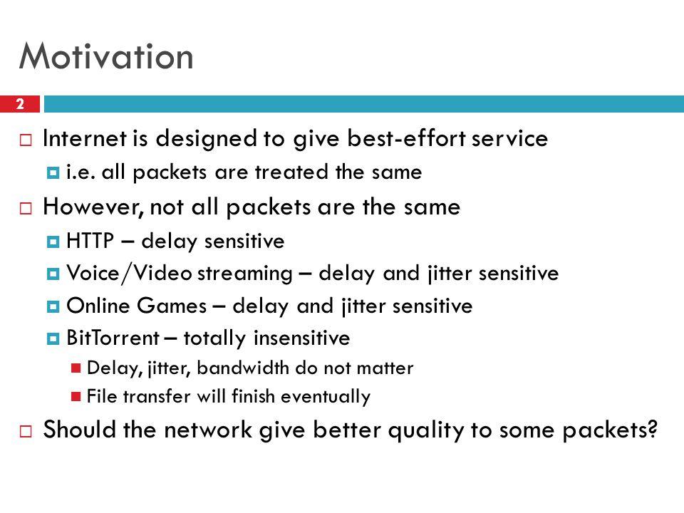 Motivation 2  Internet is designed to give best-effort service  i.e.