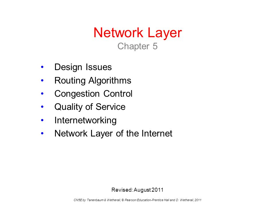 The Network Layer CN5E by Tanenbaum & Wetherall, © Pearson Education-Prentice Hall and D.