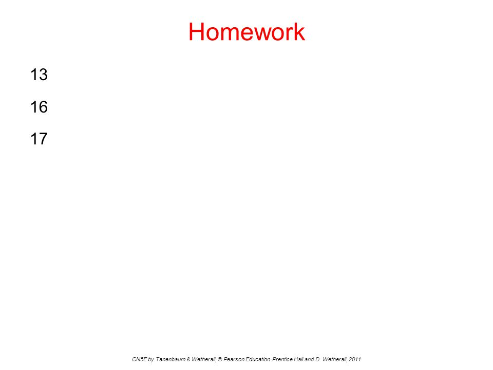 Homework 13 16 17 CN5E by Tanenbaum & Wetherall, © Pearson Education-Prentice Hall and D. Wetherall, 2011