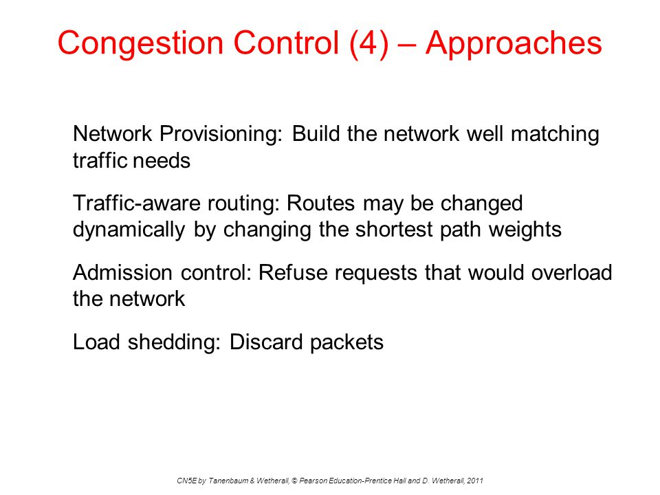 Traffic-Aware Routing CN5E by Tanenbaum & Wetherall, © Pearson Education-Prentice Hall and D.