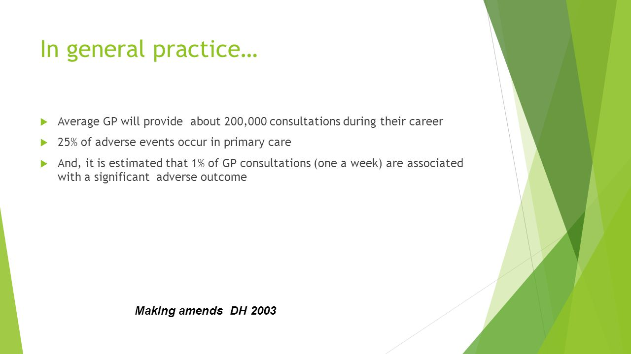 In general practice…  Average GP will provide about 200,000 consultations during their career  25% of adverse events occur in primary care  And, it is estimated that 1% of GP consultations (one a week) are associated with a significant adverse outcome Making amends DH 2003