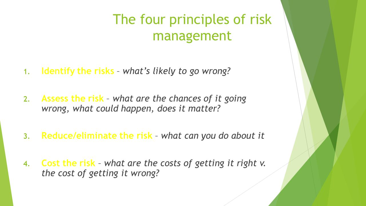 The four principles of risk management 1. Identify the risks – what's likely to go wrong.