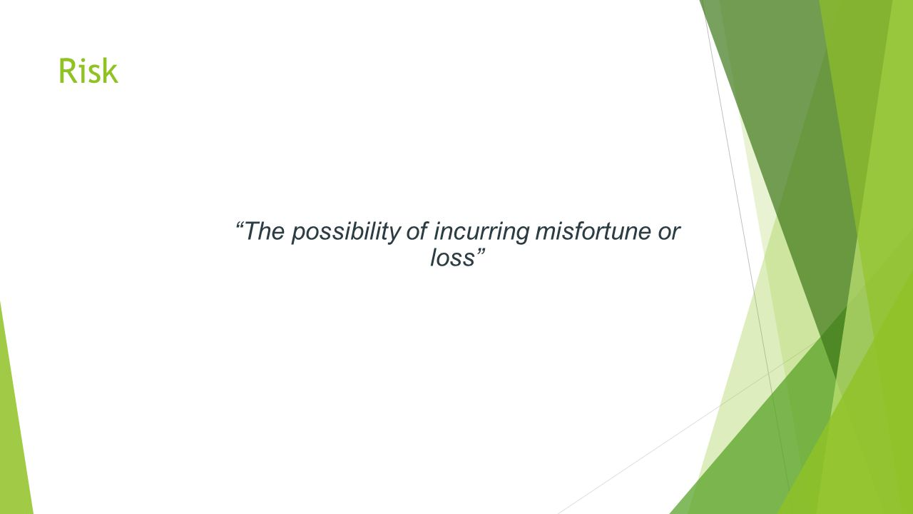 Risk The possibility of incurring misfortune or loss