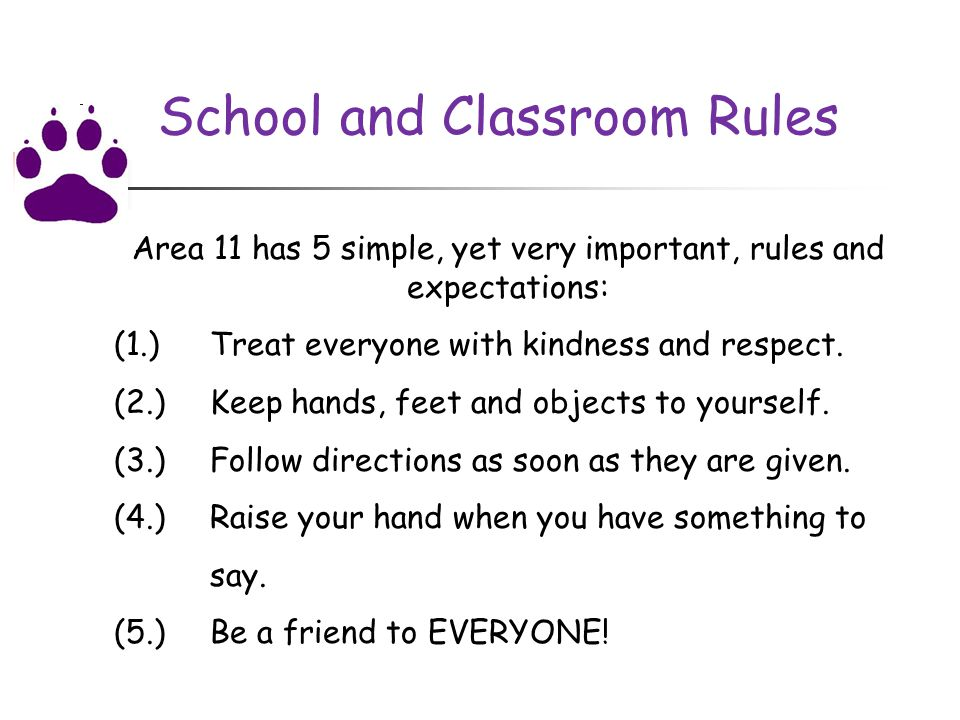School and Classroom Rules Area 11 has 5 simple, yet very important, rules and expectations: (1.) Treat everyone with kindness and respect.