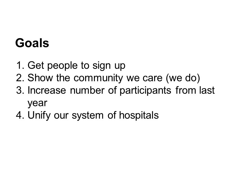 Goals 1.Get people to sign up 2.Show the community we care (we do) 3.Increase number of participants from last year 4.Unify our system of hospitals
